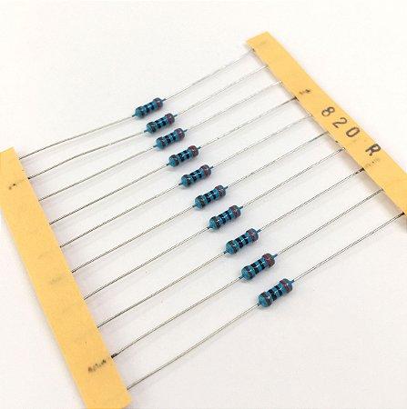 Resistor 1/4W 1% - 820R - 10 UNIDADES