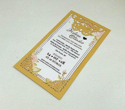 Pacote c/ 10 Convites Modelo 03 Dourado