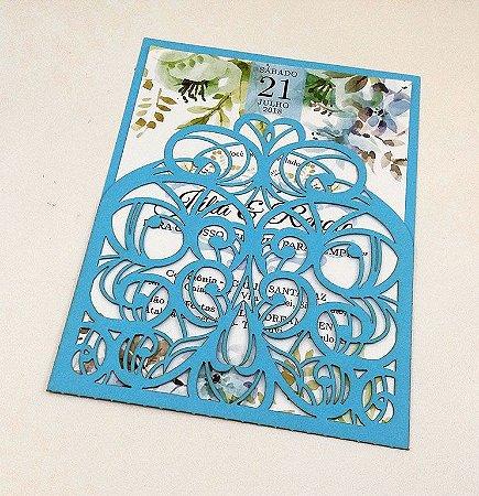 Pacote c/ 10 Convites Modelo 06 Azul Claro