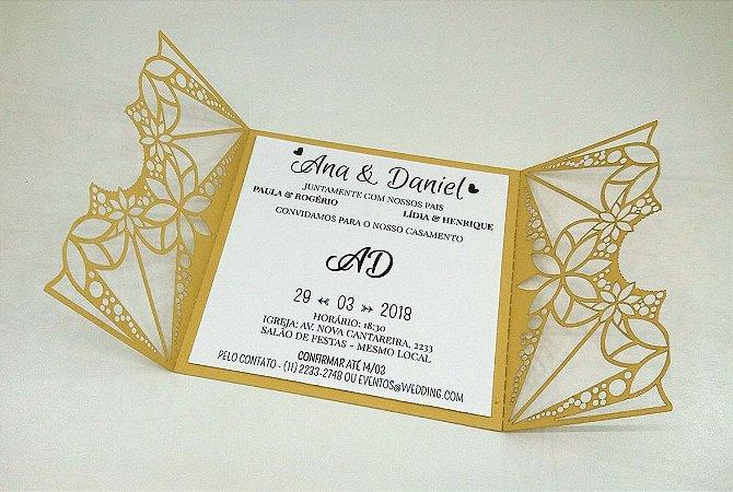 Pacote c/ 10 Convites Modelo 07 Dourado