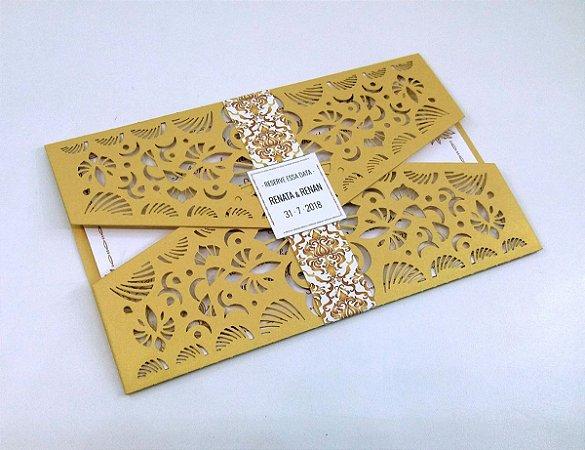 Pacote c/ 10 Convites Modelo 10 Dourado com Cinta