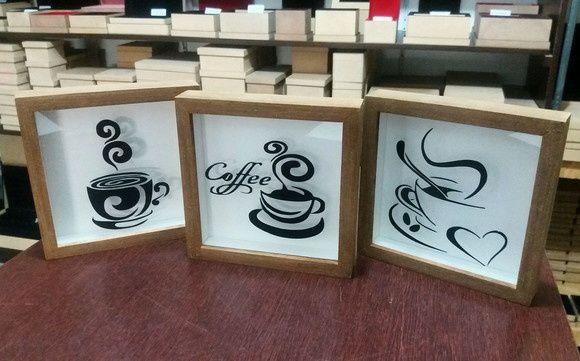 Kit 3 Quadros Decorativo - Café