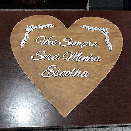 Placa Coração para Entrada com Frase Personalizada em Mdf