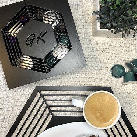 Caixa para chá ou Porta Cápsulas de Café Hexagonal com 4 divisões