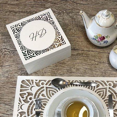 Caixa para chá ou Porta Cápsulas de Café Nature com 4 divisões