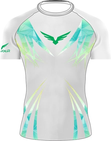 Rashguard - Manga Curta - Bird Line - Branca/Verde