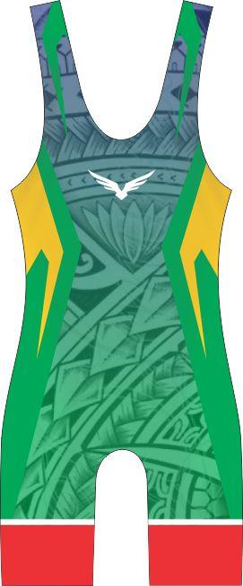 Malha Wrestling - Maori - Verde (barra azul ou vermelha)