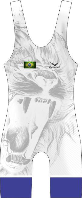 Malha Wrestling - Lion - Branca (barra azul ou vermelha)