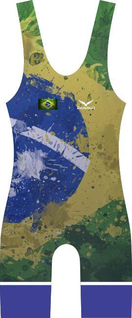 Malha Wrestling - Flag - Brasil (barra azul ou vermelha)