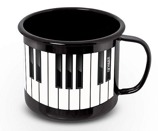 Caneca Retrô Esmaltada Piano