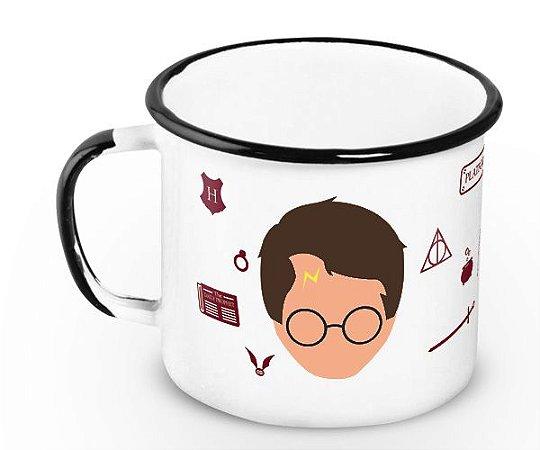 Caneca Retrô Esmaltada Harry Coffee