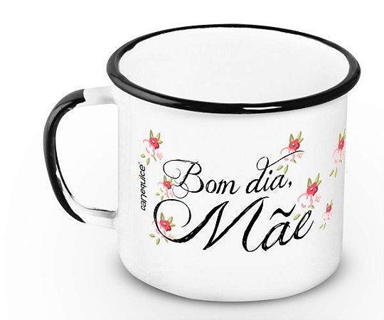 Caneca Retrô Esmaltada Bom dia, Mãe