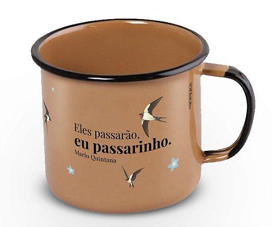Caneca Retrô Esmaltada Passarinho
