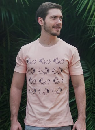 Camiseta Masculina Peixe - Salmão