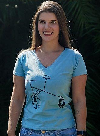 Blusa Baby Look V Feminina Bike - Azul