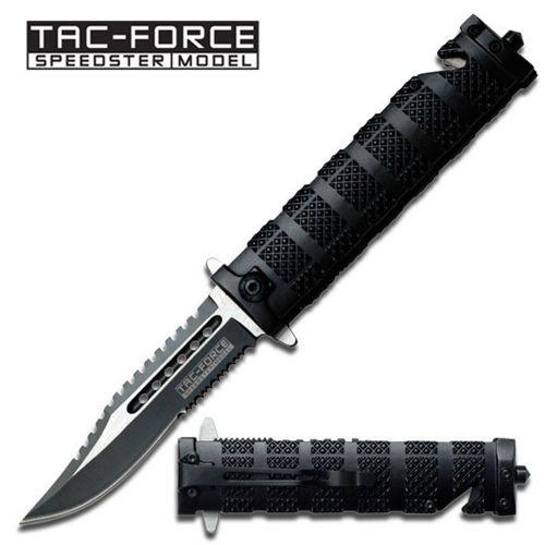 Canivete serrilhado Tac Force cabo em alumínio zigrinado