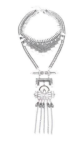 Maxi Colar feminino duplo em metal prata com zirconia e strass
