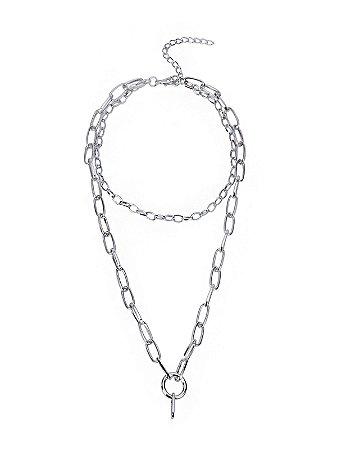 Colar Sie Haus Gargantilha correntes e argola em metal prata