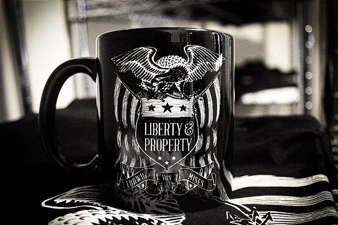 Caneca Liberty & Property - Ludwig von Mises - Porcelana 330ml preta