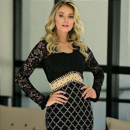 6b22f53a2b01 Vestido com detalhes em renda - Maria Amore moda evangélica - Louvre ...