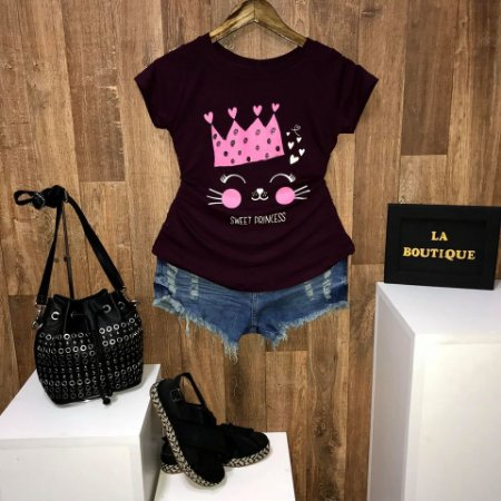 T-shirt Cat Sweet Princess - Doce Princesa