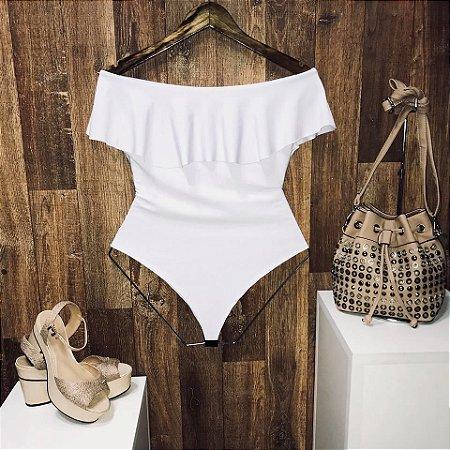 Body Feminino Babado Fashion Branco