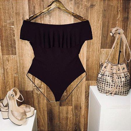 Body Feminino Babado Fashion Vinho