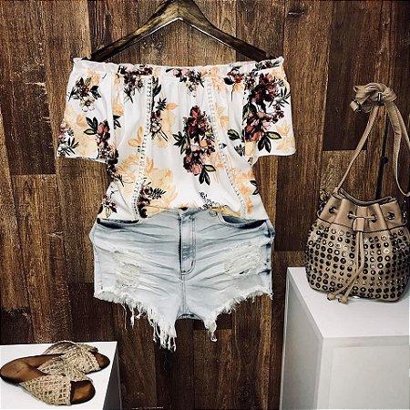 Blusa Ciganinha Manga Curta Renda Havaí Rosas White
