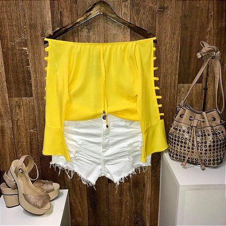 Blusa Ciganinha Manga Vazada Amarela