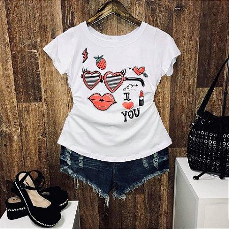 T-shirt I love you com moranguinhos