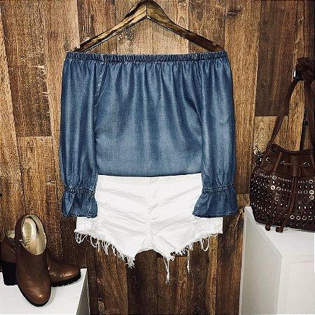 Blusa Ciganinha Manga 3|4 Jeans Azul Claro Fashion