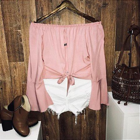Blusa Ciganinha Amarrar Cropped Rosê