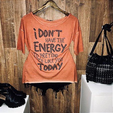 T-shirt Manga Curta Fashion Energy Laranja com Pedraria