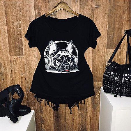 T-shirt Pug Style Music Preto
