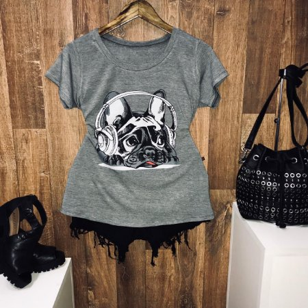 T-shirt Pug Style Music Cinza