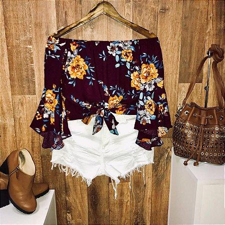 Blusa Ciganinha Amarrar Cropped 3|4 Fall Flower Vinho
