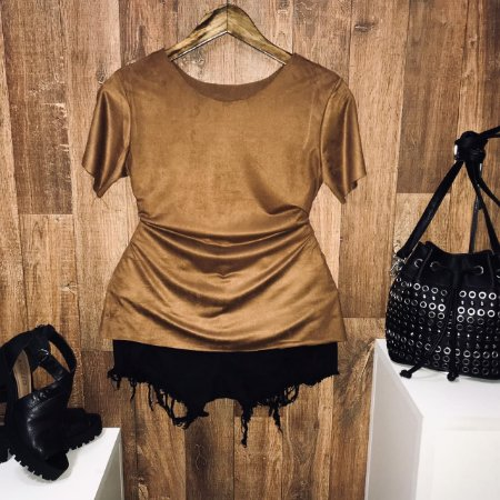 T-shirt Fashion Suede Marrom