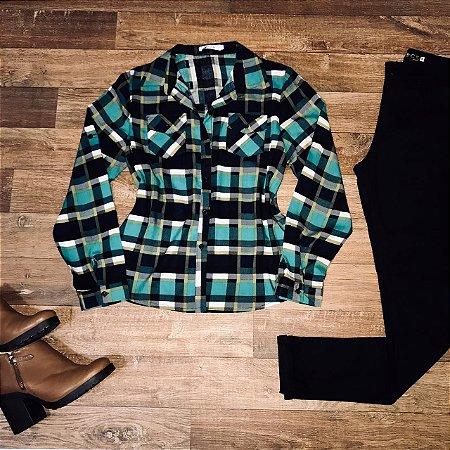 Camisa Xadrez Fashion Verde Claro