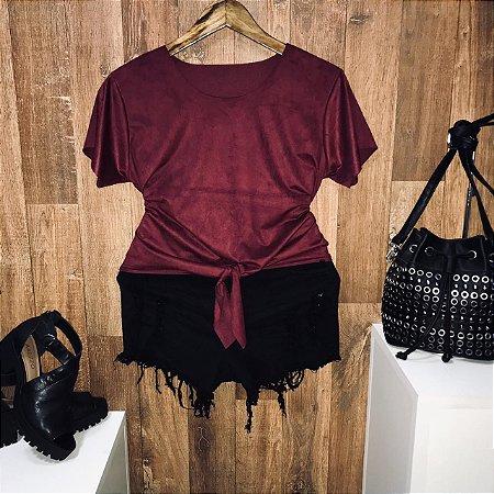 T-shirt Fashion Suede de Amarrar Marsala
