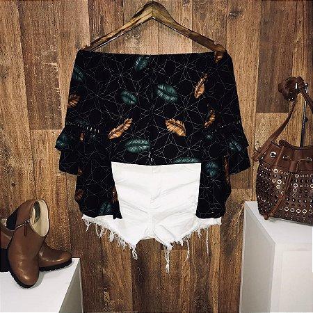 Blusa Ciganinha Duplo Babado Fashion Black