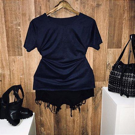 T-shirt Fashion Suede Azul Marinho