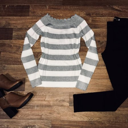 Blusa Modal Listrada Cinza
