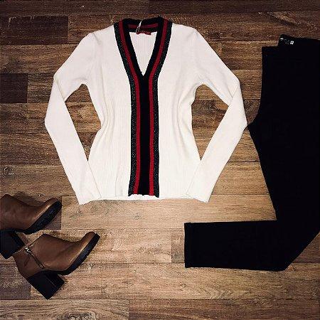 Blusa Decote V Modal Listrada Off White