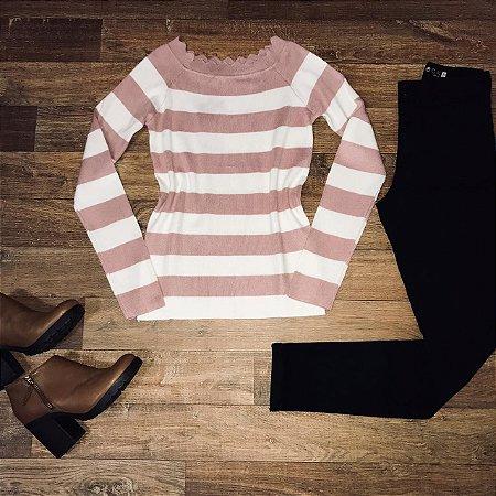 Blusa Modal Listrada Rosê