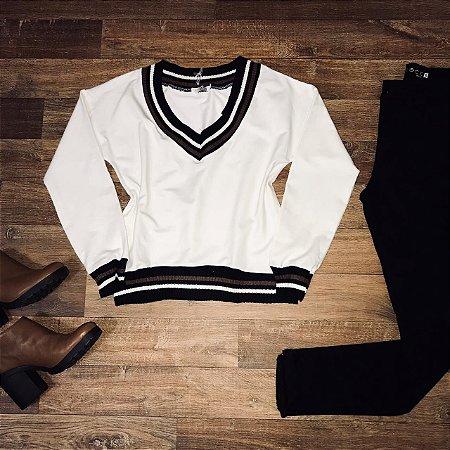 Blusa Moletinho Listras Branco