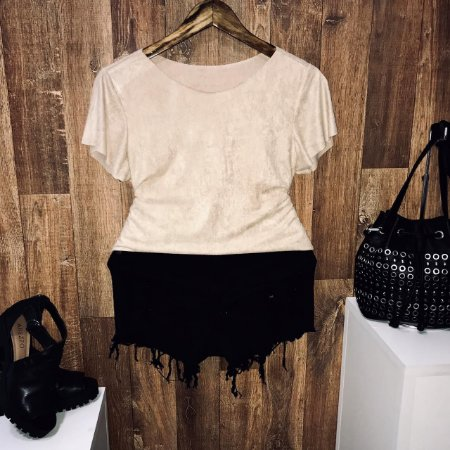 T-shirt Fashion Suede Nude