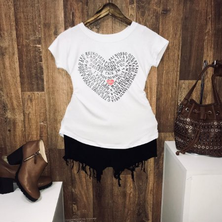 T-shirt  Pai-Nosso Heart Com Relevo