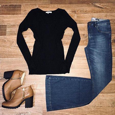 Calça Jeans Dardak Flare com Recorte 9801