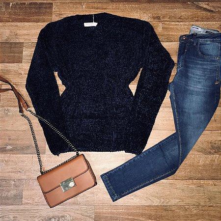 Blusa Suéter Tricot Azul Marinho