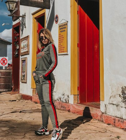 Conjunto Moletinho Fashion Cinza Mescla